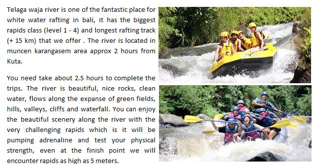 telaga wajar river rafting bali